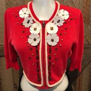 Nanette Lepore Little Red Cropped Cardigan